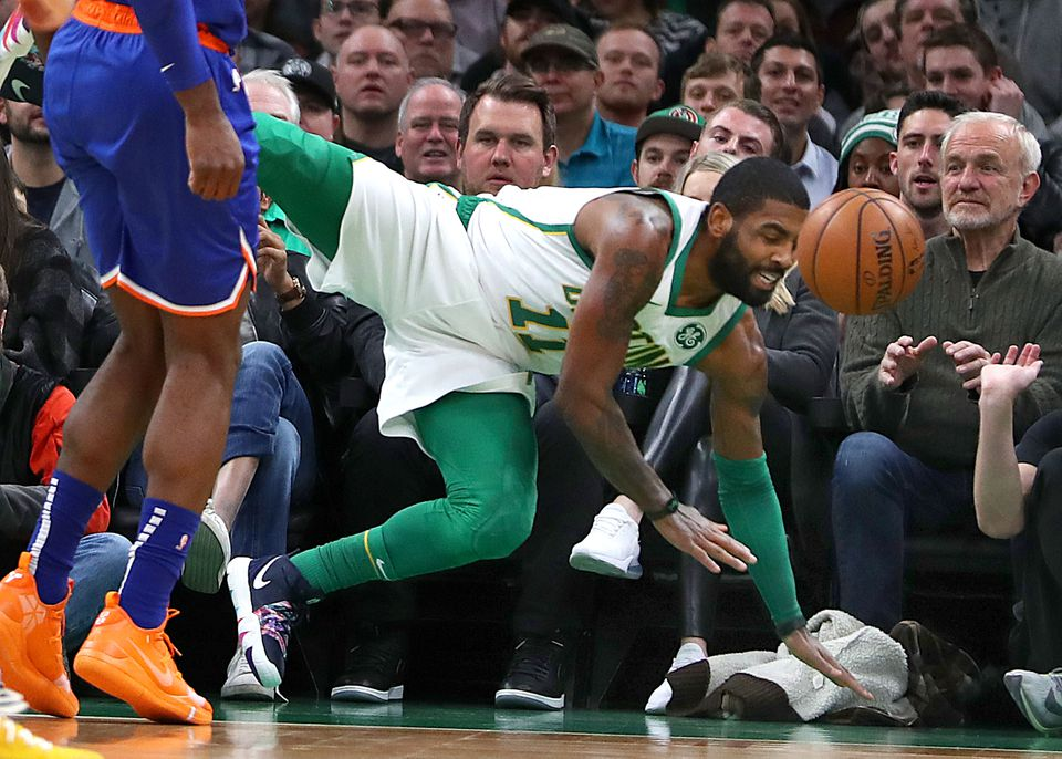 Kyrie Irving hit the deck in the first quarter and tweaked his shoulder late in the fourth quarter.