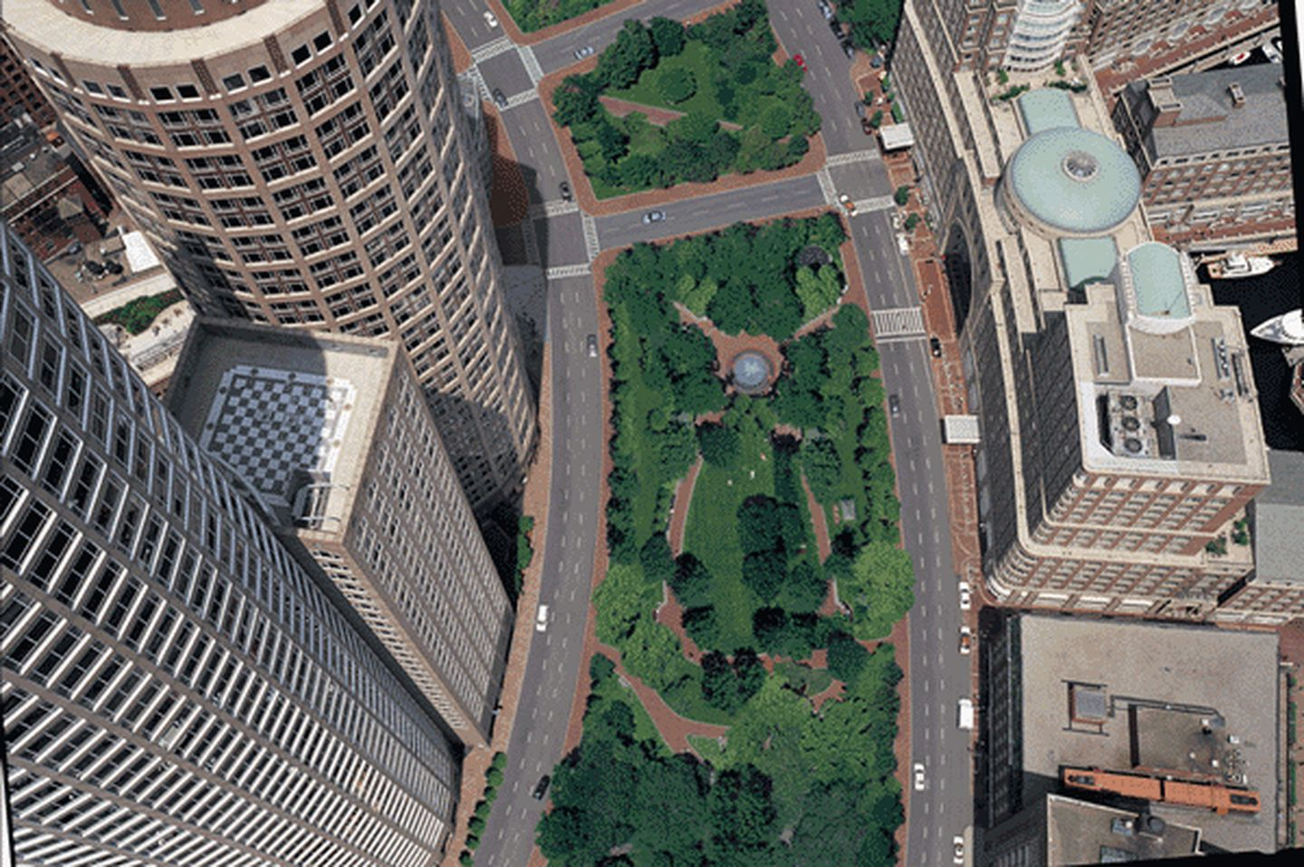 Aerial view of the Rose Kennedy Greenway