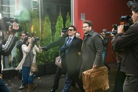 "James Franco (center, left) as Dave, and Seth Rogen (center, right) as Aaron in Columbia Pictures' ""The Interview."""