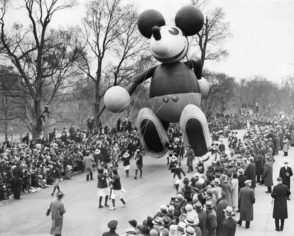 A Mickey Mouse balloon traveled along the route of the Santason parade in Boston on Thanksgiving Day, Nov. 24, 1938.