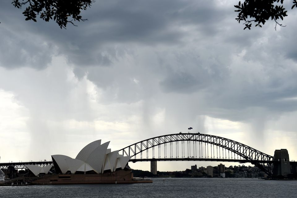 Heavy rain approached the famed Sydney Opera House.