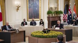 WASHINGTON, DC - SEPTEMBER 24: U.S. President Joe Biden (left) and Australian Prime Minister Scott Morrison (right) listened during a Quad Leaders Summit with Indian Prime Minister Narendra Modi and Japanese Prime Minister Suga Yoshihide in the East Room of the White House on Friday in Washington, DC. The four leaders are expected to discuss a range of topics including climate change, COVID-19 vaccines, and a free and open Indo-Pacific ocean region.