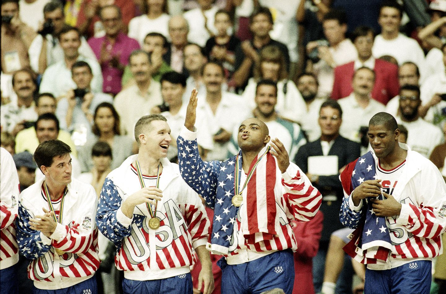 promo code c29ce a3aee The gold medal-winning Dream Team included NBA stars (from left) John  Stockton