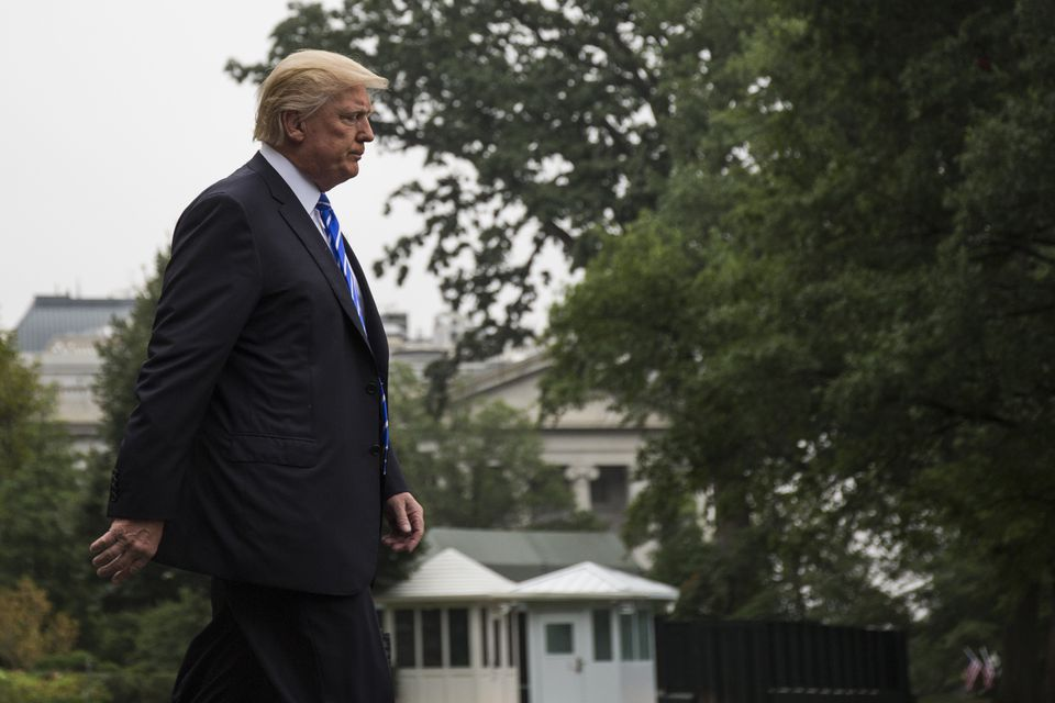 President Donald Trump walks to Marine One before departing to travel to Warsaw, Poland and Hamburg, Germany.