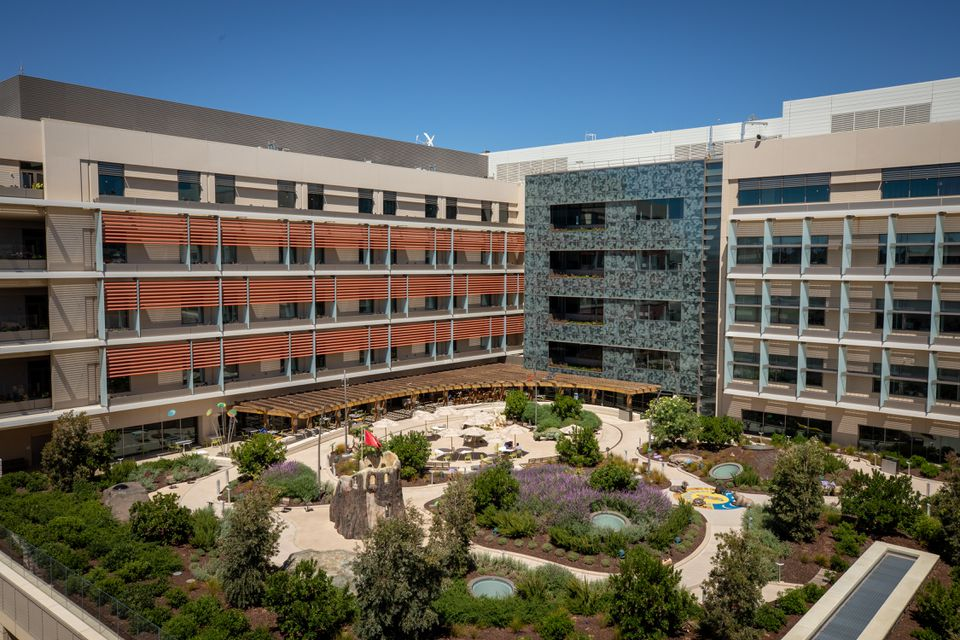 A view of the Dunlevie Garden at the new Lucile Packard Children's Hospital.
