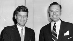 Congressman John F. Kennedy (left) and Senator Henry Cabot Lodge before the start of their debate in Waltham. Kennedy ousted the incumbent Lodge to become senator.