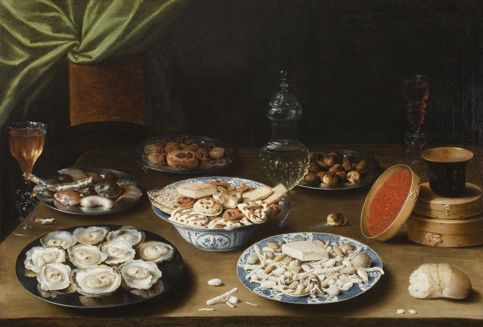 Still Life with Various Vessels on a Table,  about 1610, oil on canvas, by Osias Beert.