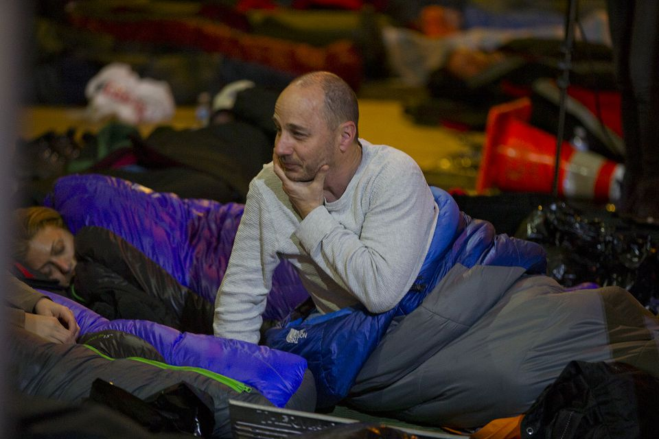 "Yankees general manager Brian Cashman during the Covenant House's ""Sleep Out"" event."