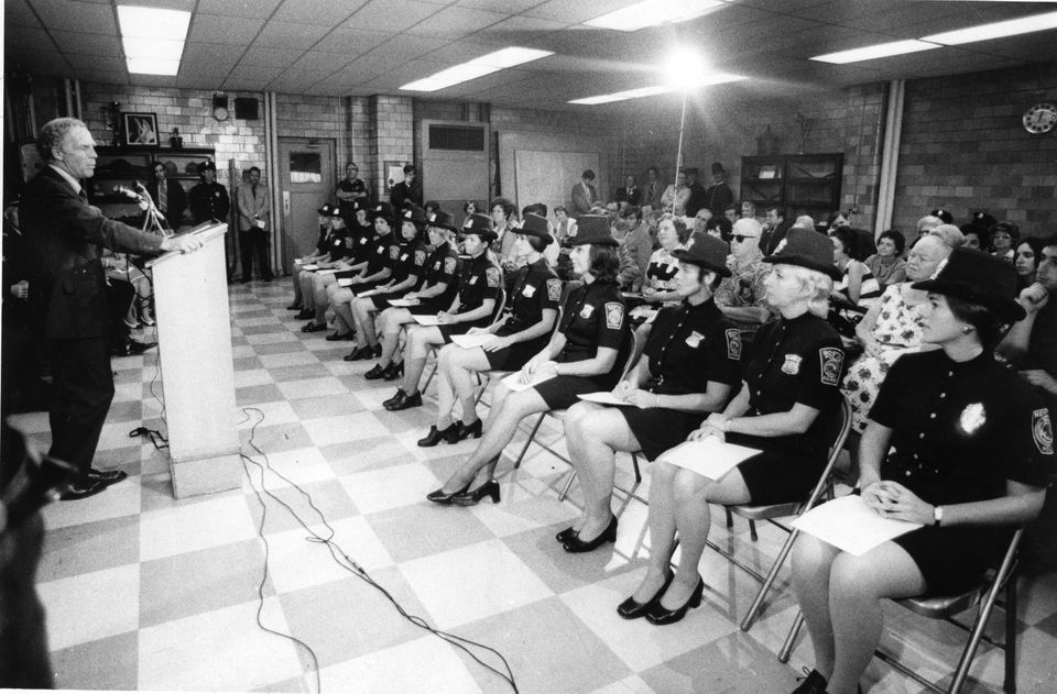 In 1972, Mayor Kevin White spoke at the graduation of 12 women from the Boston Police Academy, the first time female officers were given guns and uniforms.