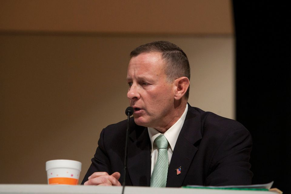 Town Manager Kevin Paicos (above) has been called combative by Foxborough selectmen chairman Larry Harrington.