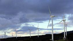 Wind turbines are seen in Rokkasho village, Aomori Prefecture, northern Japan on Nov. 8, 2012.
