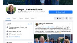 A federal lawsuit filed by the American Civil Liberties Union of Rhode Island includes this image of Woonsocket Mayor Lisa Baldelli-Hunt's Facebook page.