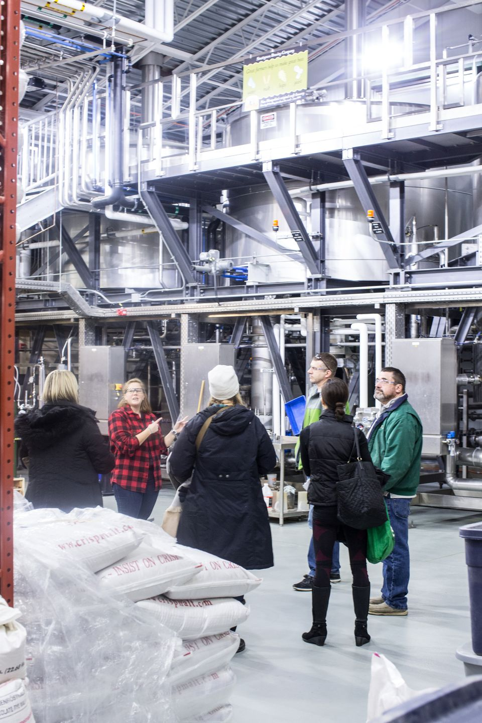 Guests on a tour of Smuttynose Brewing.
