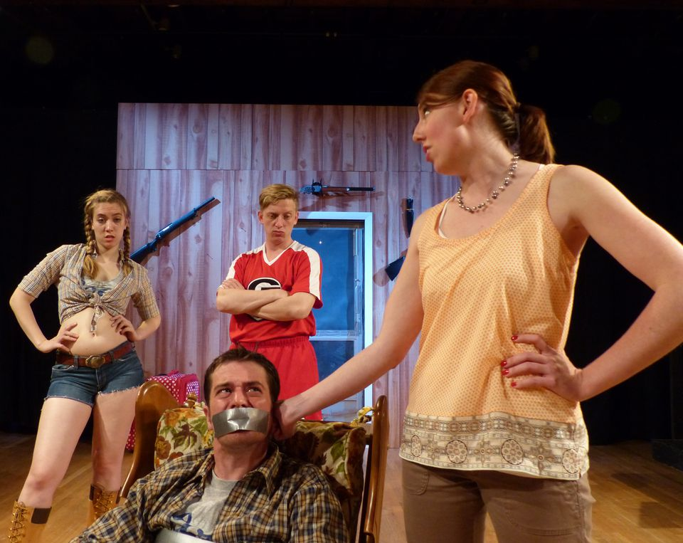 "From left: Samantha Evans, Tim Hoover (front), Cameron Beaty Gosselin, and Mary-Liz Murray in Theatre on Fire's production of Lauren Gunderson's ""Exit, Pursued by a Bear.''"