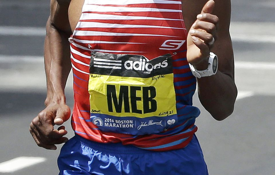 The names of last year's Marathon boming victims and Officer Sean Collier could be seen on Meb Keflezighi's bib.