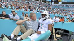Dolphins quarterback Tua Tagovailoa was carted out the field after getting injured in the first quarter.