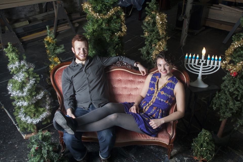 """""""Every Christmas Story Ever Told"""" set designer Rogin Farrer and director Allison Benko in the work-shop at Gloucester Stage."""