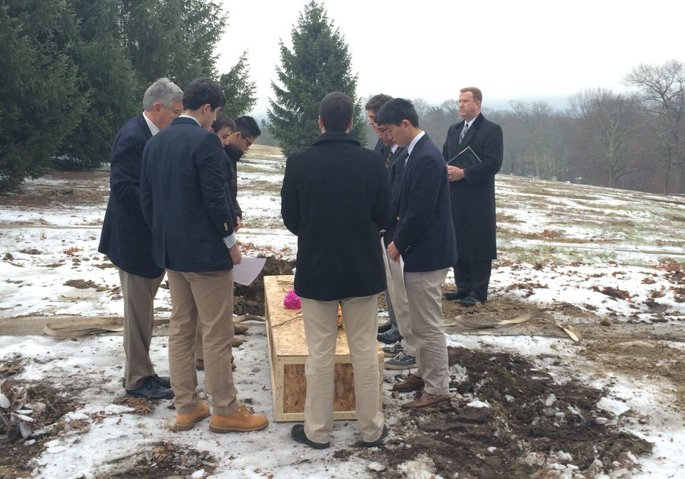 Seniors at Roxbury Latin School were pallbearers last week for James McDermott, a homeless man who drowned in the Charles River in July.
