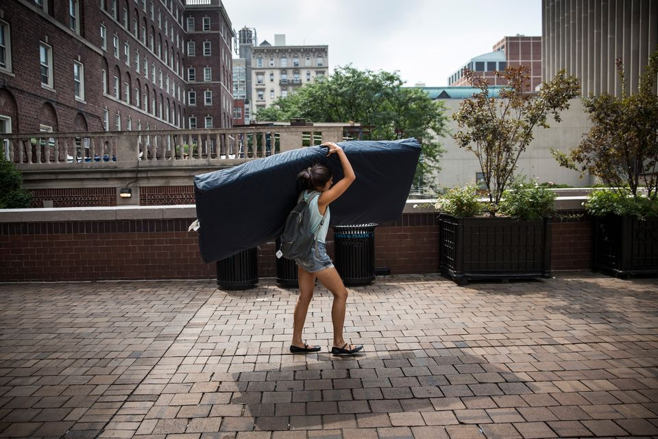 Emma Sulkowicz, a senior visual arts student at Columbia University, carried a mattress in protest of the university's lack of action after she reported being raped during her sophomore year.
