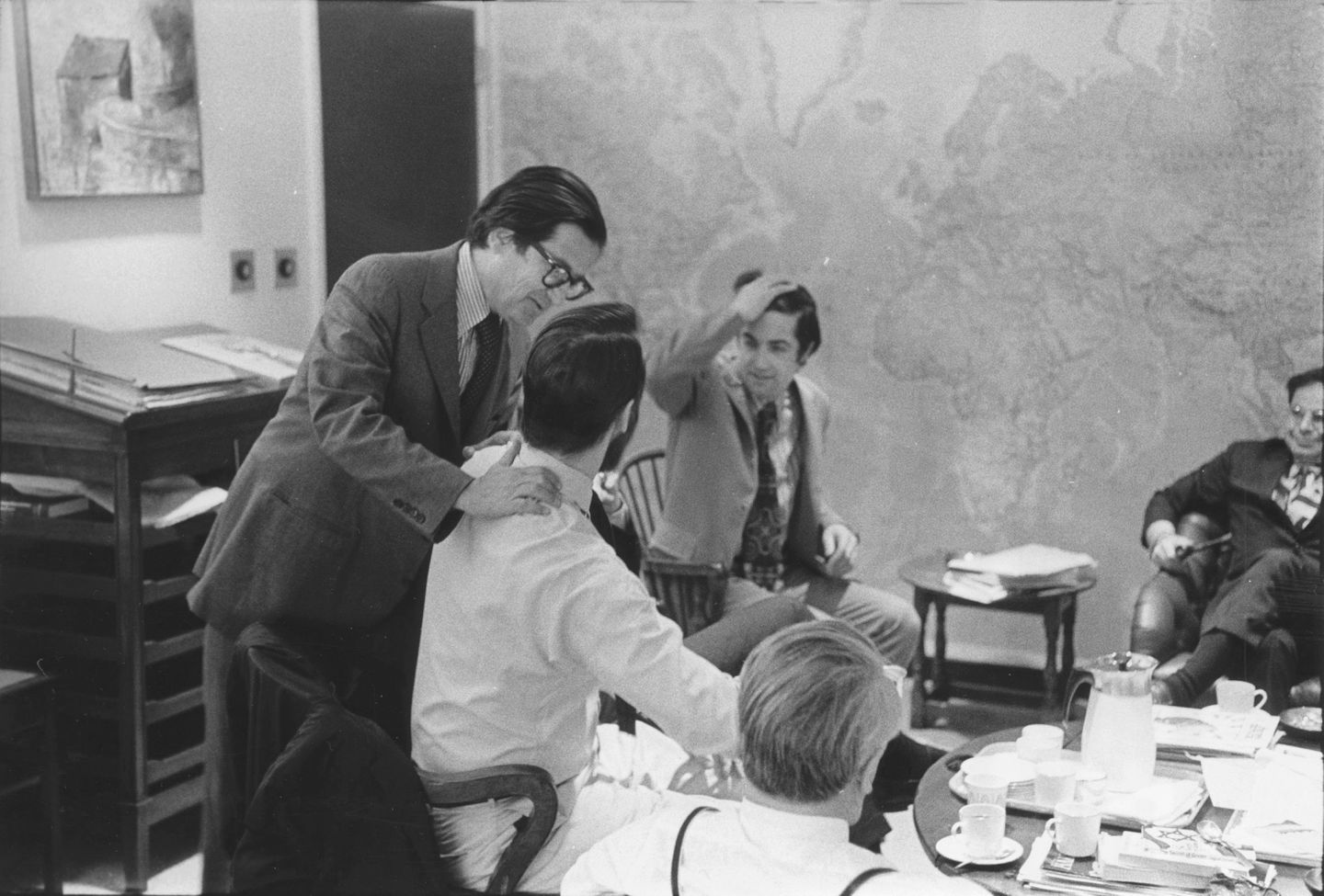 A.M. Rosenthal congratulated Hedrick Smith after publication of the Pentagon Papers in The New York Times in June 1971. Neil Sheehan is second from right.