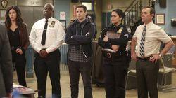 "From left: Stephanie Beatriz, Andre Braugher, Andy Samberg, Melissa Fumero, and Joe Lo Truglio in ""Brooklyn Nine-Nine."""