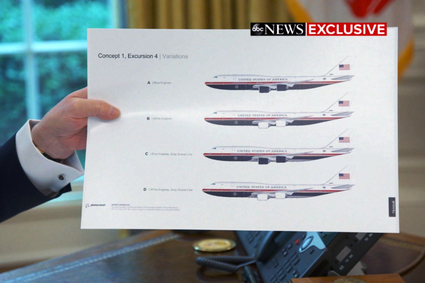 Trump Shows Off His Red White And Blue Air Force One Color