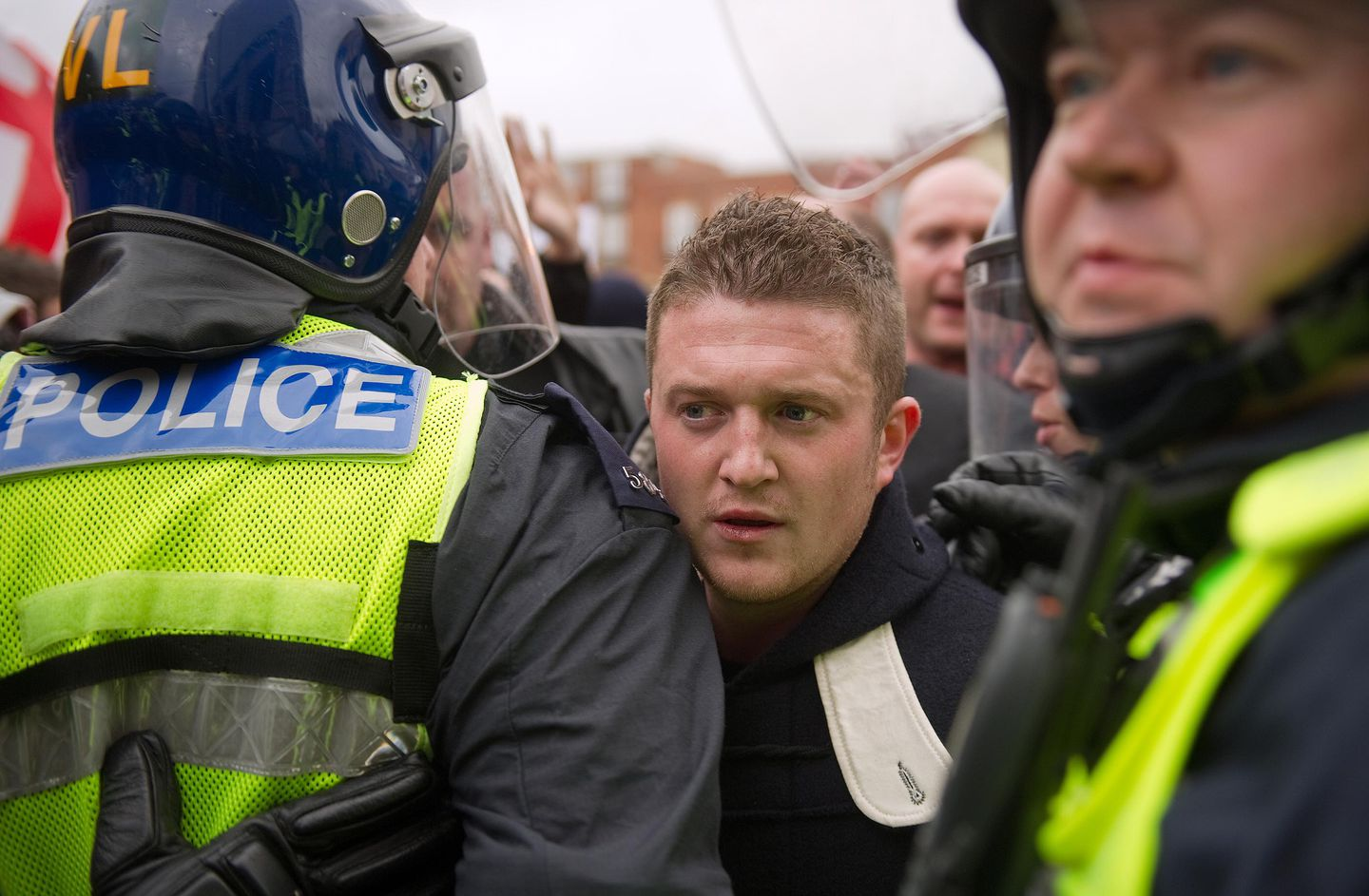 Stephen Yaxley-Lennon, who now is known as Tommy Robinson, at a rally in 2011.
