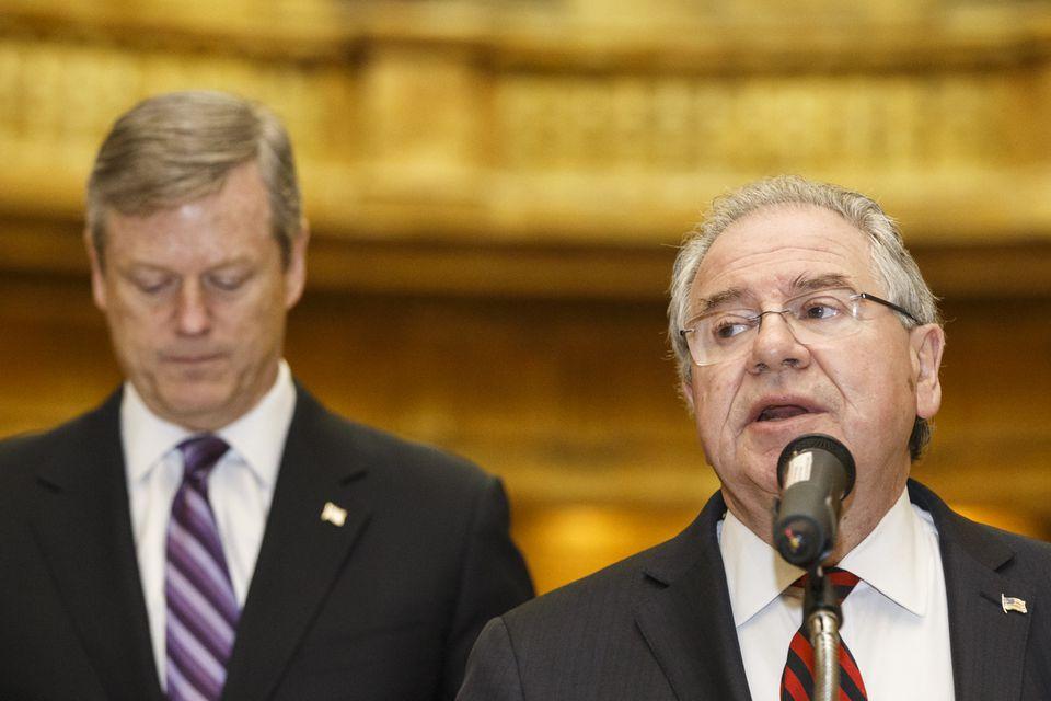 Governor Charlie Baker (left) supports the legislation, but House Speaker Robert DeLeo's feelings on the bill are unclear.