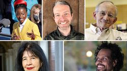 Editor James Crews, top center, wants to help readers love their lives as they are. Poets include Amanda Gorman, Ted Kooser, Ross Gay, and Joy Harjo.