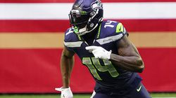 Seattle Seahawks wide receiver DK Metcalf (14) during an NFL football game against the San Francisco 49ers, Sunday, Jan. 3, 2021, in Glendale, Ariz. (AP Photo/Rick Scuteri)