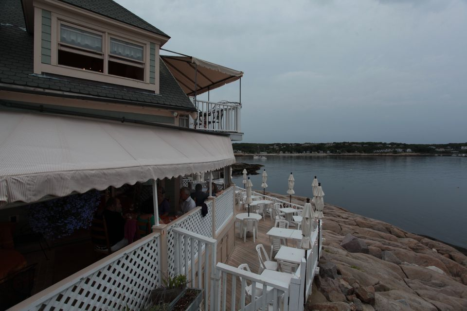 The uncovered outside deck at Rockport's My Place by the Sea offers terrific ocean views.