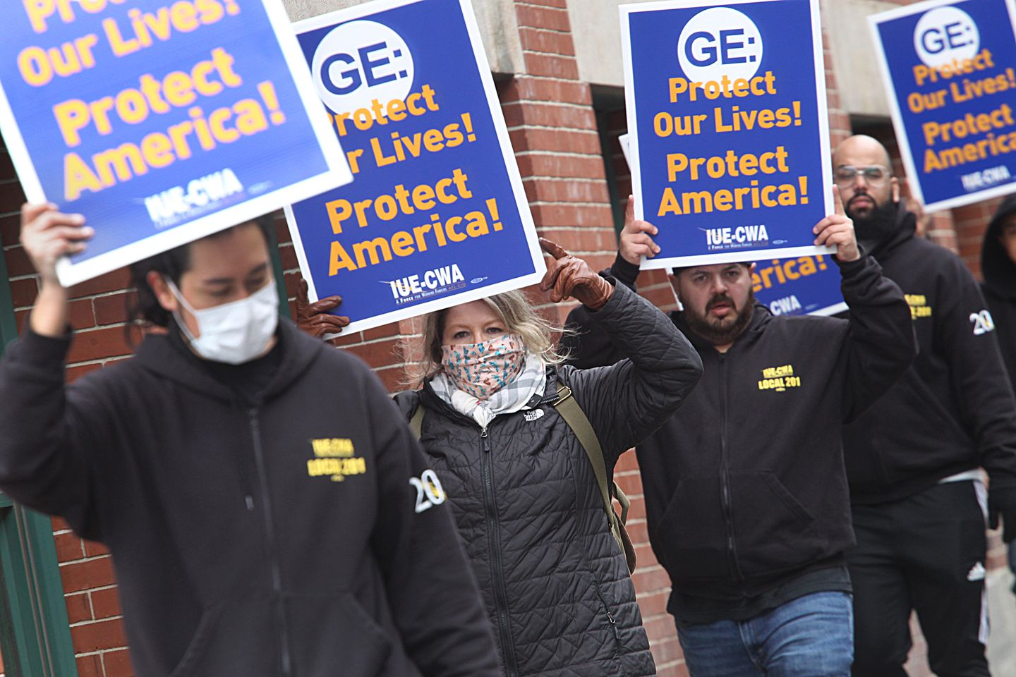 General Electric workers held a protest on Necco Street out of concern for their safety due to coronavirus.