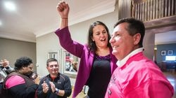 Annissa Essaibi George celebrated with her husband, Douglas George, when she was elected to the Boston City Council in 2015.