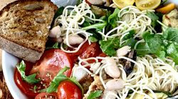 Angel Hair Bowls can be made with whatever's in the fridge. Here the very thin pasta is layered with grilled chicken, white beans, grilled bell peppers, roasted zucchini, tomatoes, and arugula.