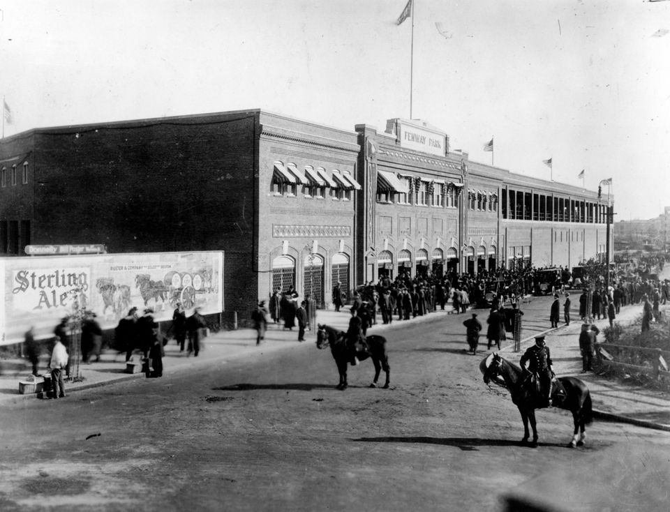 The scene outside Fenway Park on its opening day, April 20, 1912.