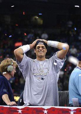 Tom Brady won Super Bowl MVP honors a year after being chosen in the sixth round of the NFL draft.