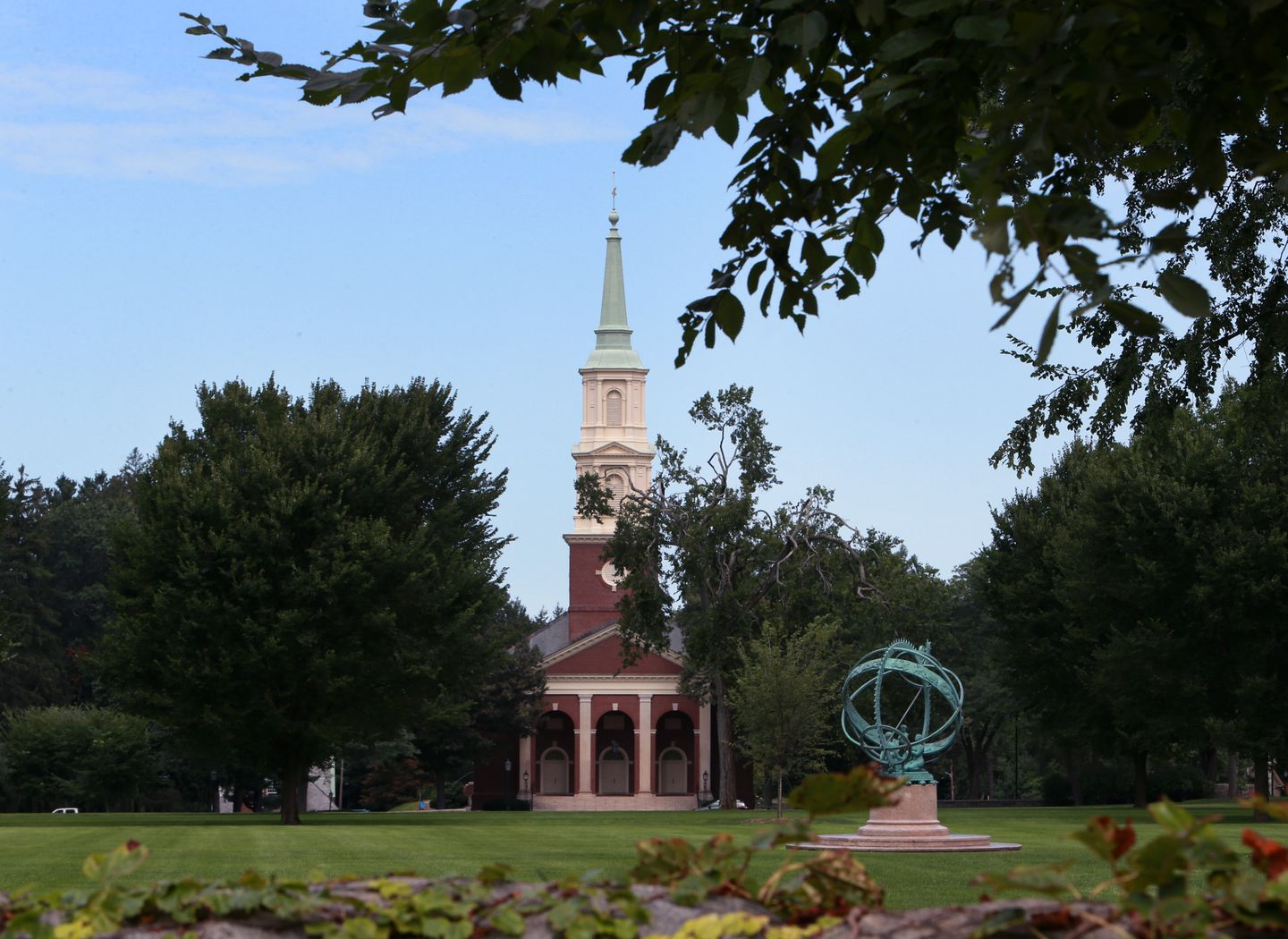 The Armillary Sphere sits in front of Cochran Chapel on the Phillips Academy campus.