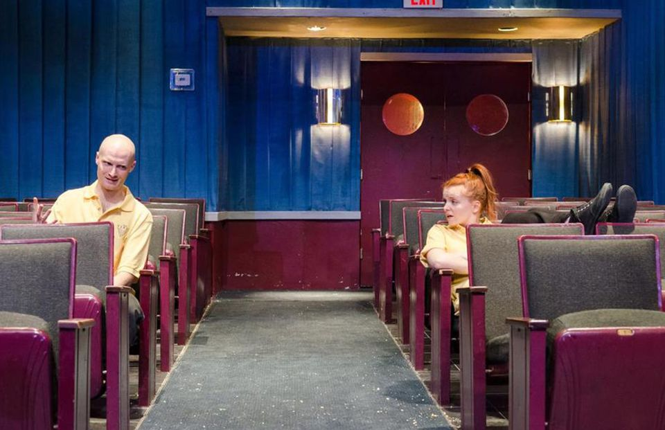"""Alex Pollock plays a movie theater employee and Brenna Fitzgerald a projectionist in """"The Flick.''"""
