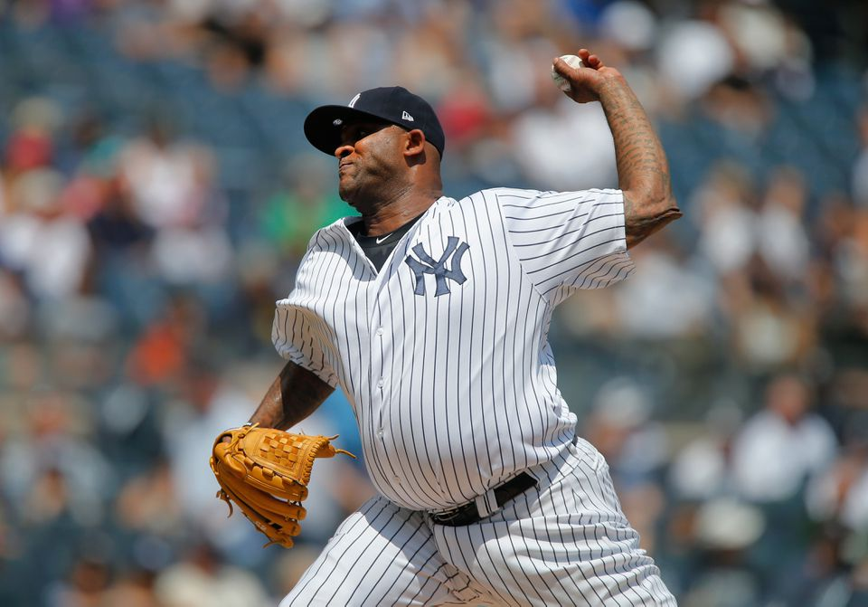 CC Sabathia threw six scoreless innings of one-hit ball for the Yankees in Sunday's 7-2 victory over the visiting Texas Rangers.