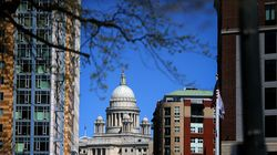 The Rhode Island State House seen from Kennedy Plaza in Providence.
