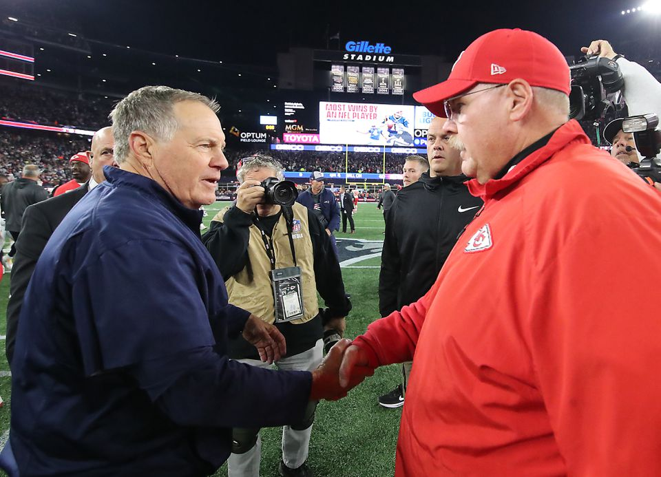 Bill Belichick and Andy Reid shake hands after the game.