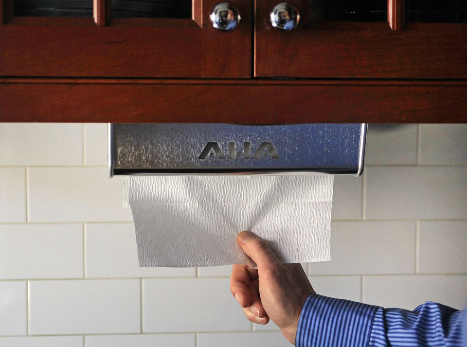The 1HandR dispenses one paper towel at a time and requires only one hand.