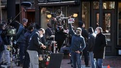 """A crew prepared to film a scene of """"The Tender Bar"""" last month in Boston's South End."""