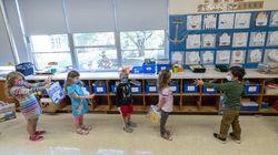 Kindergarten students at the Osborn School, in Rye, N.Y.