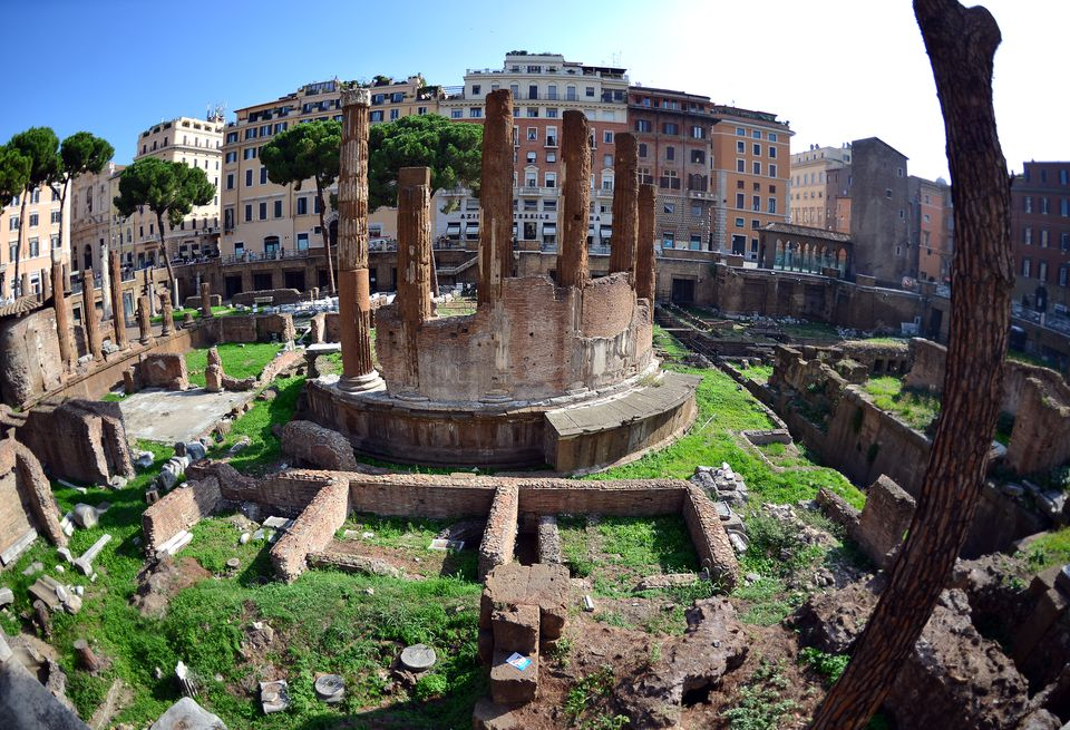 The exact spot among ancient ruins where Roman general Julius Caesar was assassinated in 44 BC.