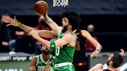 Jayson Tatum (center) seemed to be the only Celtics player who tried -- to no avail -- to take the fight to the Cavaliers in a 102-94 loss Wednesday night in Cleveland.