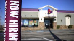 "A ""Now Hiring"" sign outside a Taco Bell restaurant in Louisville, Kentucky."