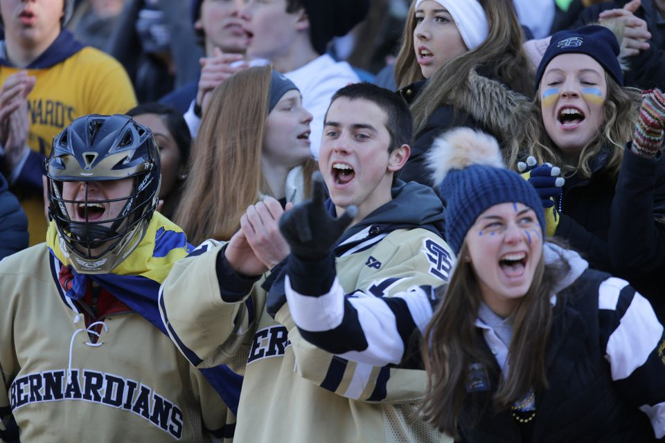 St. Bernard's fans cheer on their team in the MIAA Dvision 8 Super Bowl at Gillette Stadium.