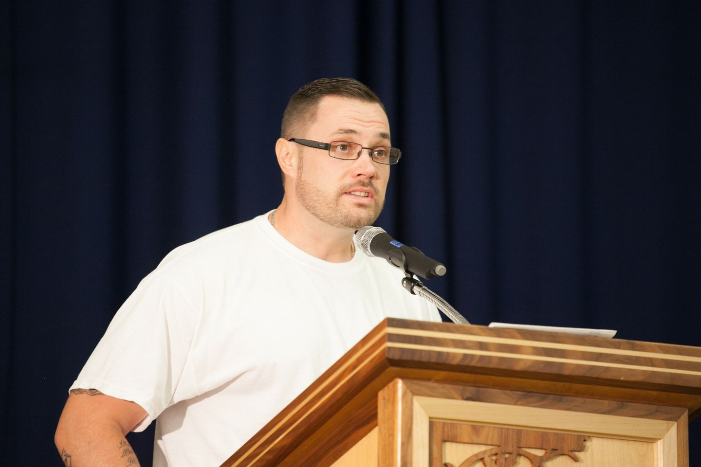 The author addressing the audience at a Concerned Lifers Organization Conference at the Washington State Reformatory, 2017.