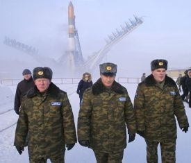 Vladimir Putin at the Plesetsk cosmodrome launch site in northern Russia.
